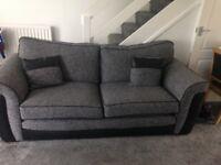 Grey & Black 2 Seater Sofa + 3 Seater Sofas + Storage stool Excellent Condition