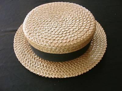 RARE VINTAGE 1920'S MEN'S STRAW BOATER HAT SIZE - 1920s Mens Straw Hat