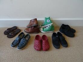 7 Pairs of Boys Shoes Size 12-13 junior / Converse, Clarks, crocks