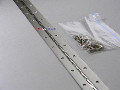 """24"""" Continuous Piano Hinge 24 X 1.5  Nickel (With Screws)"""
