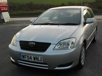 TOYOTA COROLLA 1.6 VVTi COLOUR COLLECTION, 5 DOOR, SILVER, 2004, 2 OWNERS, 102k, LONG MOT, SUPERB