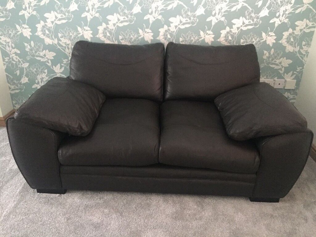 Dark Brown Leather 2 Seater Sofa