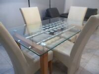 Quality Contemporary Italian Glass and Oak Dining Table (Gillies of Broughty Ferry)