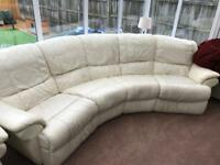 White leather electric reclining sofa & chair