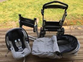 Mamas and papas car seat, buggy and Moses basket set