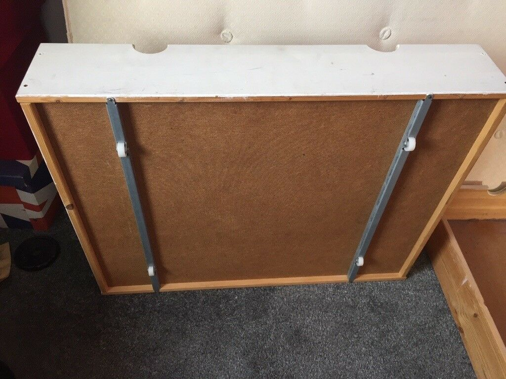 4 x solid wood under bed storage draws on castors