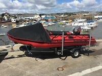 Mercury Quicksilver 380HD, 10hp 2 stroke Mariner Outboard, brand new trailer.