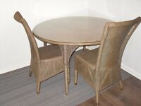 Rattan / wicker effect round glass topped 120cm dining table & 2 chairs ideal conservatory