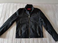 Hugo Boss Black/Grey Nubuck Leather Jacket (New Never Worn)