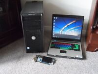 job lot tower pc laptop and pci card.