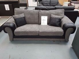 Brand New Grey And Black Cord 3+2 Sofa. Free Delivery Up To 25 Miles. Ready For Delivery