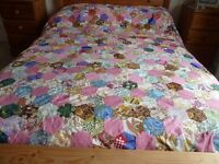Vintage hand made patchwork hexagon flower pattern double quilt