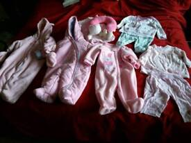 Baby girl newborn & 0-3mths clothes bundle etc