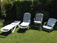 2 Allibert Cormoran Sun Loungers + 2 Allibert Tangor Chairs (+ Original 'Aquarius' style cushions!!)