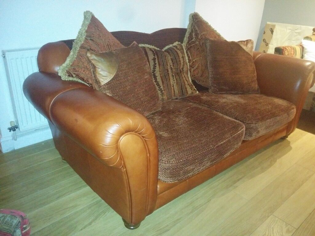 Very Large Sofa Leather And Fabric
