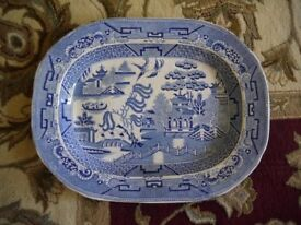 Antique Willow Pattern Meat Platter / Plate Serving Dish