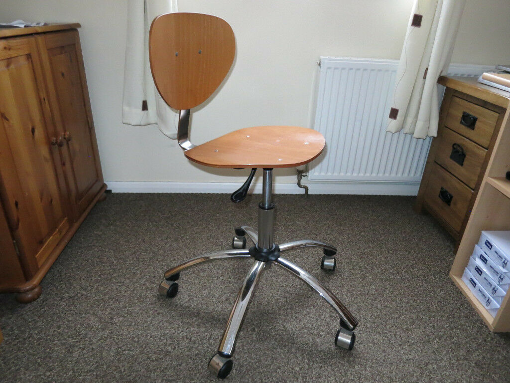 wooden swivel desk chair. Maple Wooden Seat And Chrome Base Adjustable Swivel Office Chair *USED* Desk