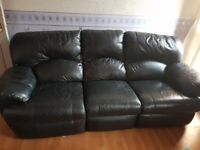 Black Leather 3 Seater and 2 Seater Sofa Recliners