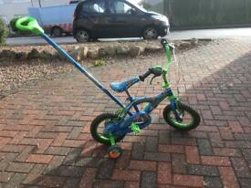 14inch boys space cadet bike with parent handle