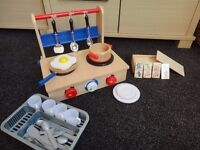 Wooden collapsable play kitchen and wooden dominoes