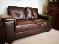 2 Seater (SOLD) & Arm Chair in Dark Espresso Faux Leather