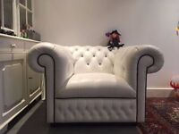 Saxon handmade white leather armchair for sale