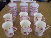 9 piece set 6 mugs and tea coffee sugar cannisters pink and white cupcake design