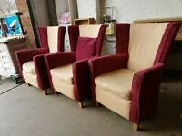 Red fabric fireside chairs (x3 available)
