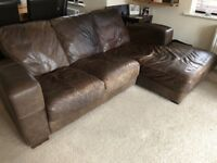 Brown leather 3 seater, 2 seater and storage pouffe