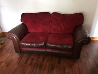 Pristine 2 seater settee part leather part fabric wine fabric and brown leather