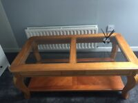 Solid yew wood coffee table.