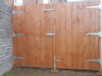 TWO GATES AND HINGES, BOLTS ETC, BOTH MADE UP JUST OVER YEAR AGO