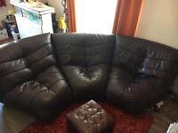 Purple Italian Leather designer modular sofa