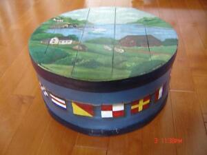 Beautiful Antique Handpainted Wooden Cheese Box