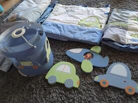 Baby boys bedding set, light shade and wall art from Next