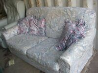 MODERN LIGHT BLUE SOFA BED, 2 SEATER INTO DOUBLE BED WITH MATTRESS IN SECONDS. VIEW/DELIVERY POSS