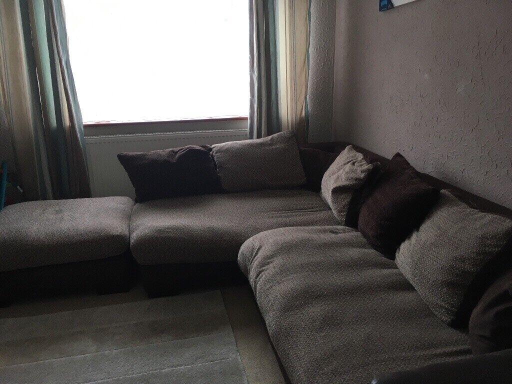 Corner sofa and poufe