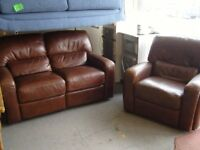 Brown Leather Reclining Sofa Settee and Armchair Suite