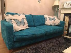 Blue DFS 3 Seater butterfly Sofa price lowered £179