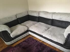 Mink fabric and black leather corner sofa