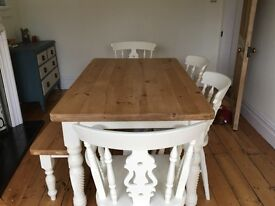 Farmhouse dining table, four chair and pine bench