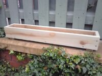 WOODEN FLOWER PLANTER,WINDOW BOX,TREATED WOOD, MANY SIZES/COLOURS