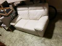 Cream leather 2 x 2 seater sofa