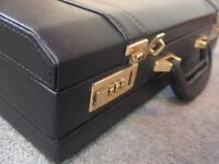 Amica 'Porters' Leather Business Briefcase - Black