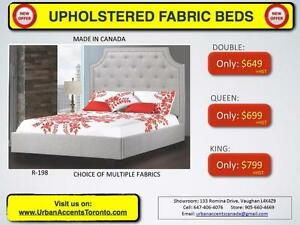 Bedroom Furniture Sale. Custom Beds. Made in Canada. Upholstered Fabric / Leather Beds & Headboards.