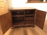 Dark wood reproduction CD/Record player unit - top lifts for access to record player.