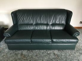Green Leather 3 seater sofa and x2 chairs