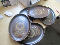 FIVE Denby POTTERY Arabesque Hand Painted Stoneware LARGE STEAK PLATES......£25.