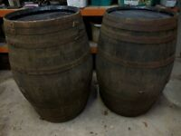Used oak whiskey barrels for garden, pub, or wedding