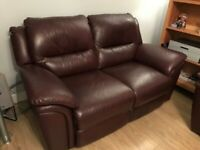 a quality Reid's made 2 seater sofa in high grade burgundy leather